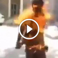 Horrifying moment man engulfed in a ball of flames after his phone catches fire in his pocket